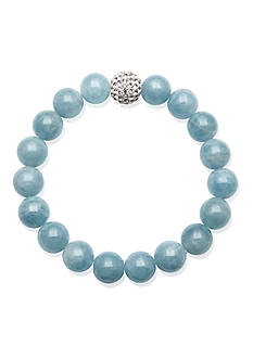 Belk & Co. Sterling Silver Milky Aquamarine and Crystal Bead Bracelet