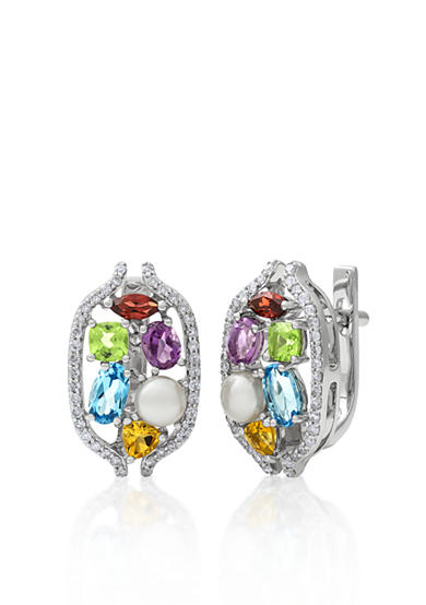 Belk & Co. 14k White Gold Multi Gemstone and Freswater Pearl Earrings