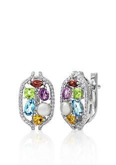 Belk & Co. 14k White Gold Multi Gemstone and Freswater Pearl Earrings