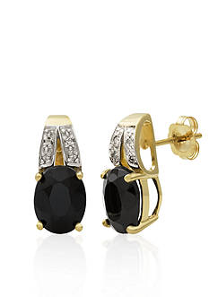 Belk & Co. 14k Yellow Gold Onyx and Diamond Earrings