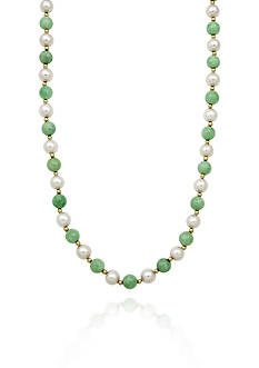 Belk & Co. 14k Yellow Gold Jade and Freshwater Pearl Necklace
