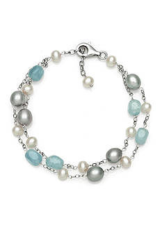 Belk & Co. Sterling Silver Milky Aquamarine and Freshwater Pearl Bracelet
