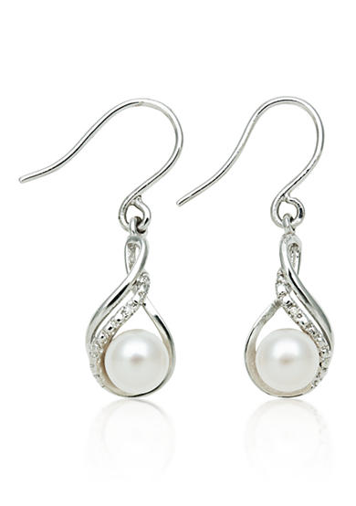 Amour de Pearl Sterling Silver Freshwater Pearl & Diamond Earrings