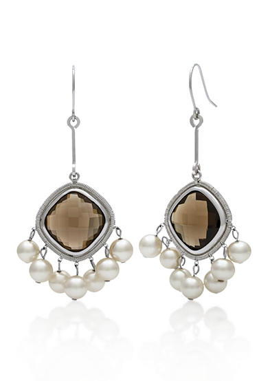 Belk & Co. Sterling Silver Smokey Quartz and Freshwater Pearl Earrings