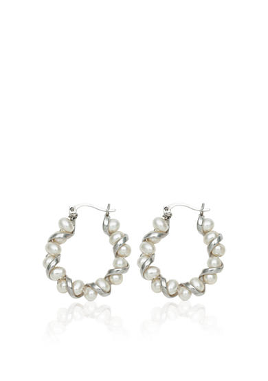 Amour de Pearl Sterling Silver Freshwater Pearl Twist Earrings