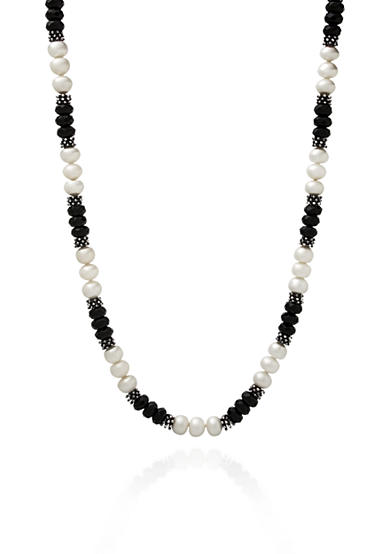 Belk & Co. Sterling Silver Onyx and Freshawater Pearl Necklace
