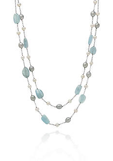 Belk & Co. Sterling Silver Milky Aquamarine and Freshwater Pearl Necklace