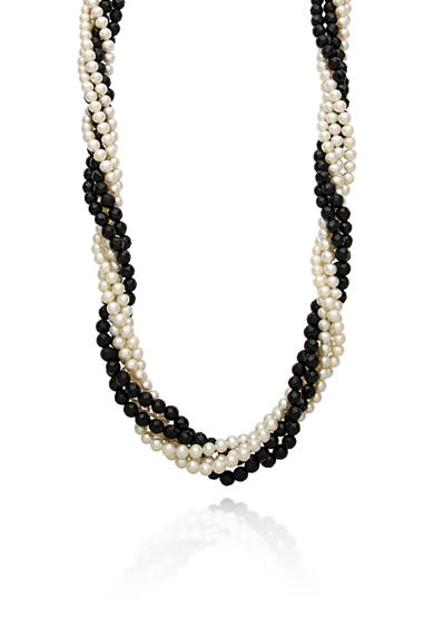 Belk & Co. Sterling Silver Freshwater Pearl and Onyx Necklace