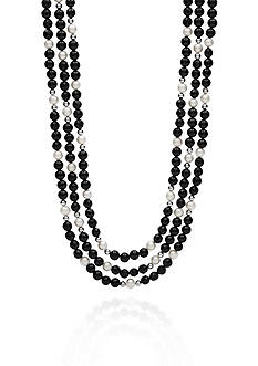 Belk & Co. Sterling Silver Black Onyx and Freshwater Pearl Necklace