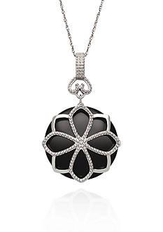 Belk & Co. Sterling Silver Onyx Flower Pendant