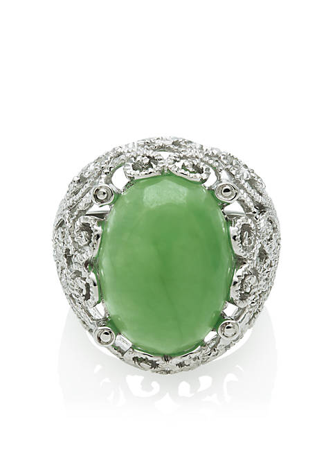 Belk co sterling silver jade ring belk for Belk fine jewelry rings