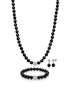 Belk & Co. Sterling Silver Onyx and Crystal Necklace, Bracelet, and Earring Set