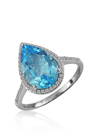 Belk co swiss blue topaz and diamond ring in sterling for Belk fine jewelry rings