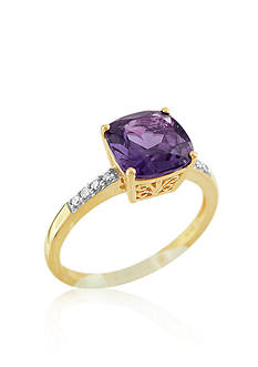 Belk & Co. 10k Yellow Gold Amethyst and Diamond Ring