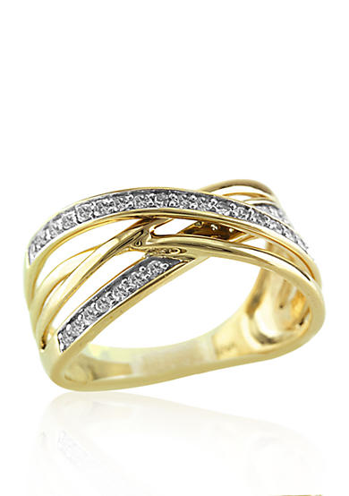Belk & Co. Diamond Crossover Band in 14k Yellow Gold