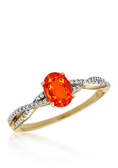 Belk & Co. Brilliant Fire Opal and Diamond Ring in 10k Yellow Gold