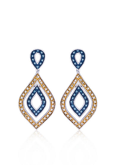 Belk & Co. Blue and Champagne Diamond Earrings in Sterling Silver