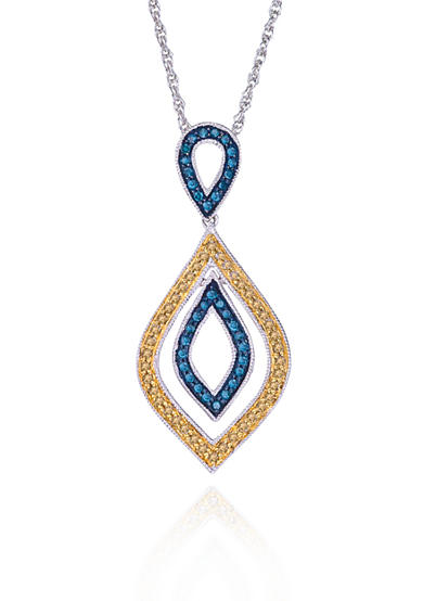 Belk & Co. Blue and Champagne Diamond Pendant in Sterling Silver