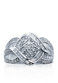 Belk & Co. Diamond Cluster Ring in 10k White Gold