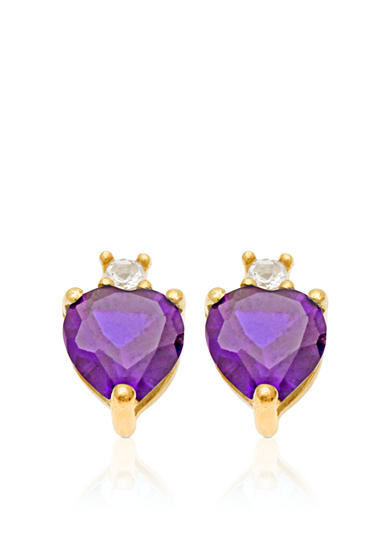 Belk & Co. 10k Yellow Gold Genuine Amethyst and White Topaz Earring <br>