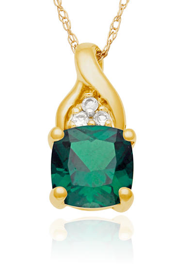 Belk & Co. 10k Yellow Gold Created Emerald and White Topaz Pendant <br>