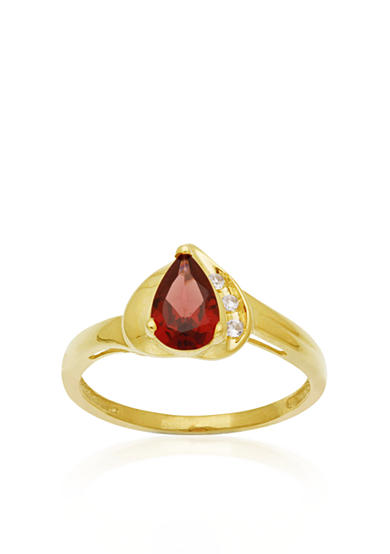 Belk & Co. 10k Yellow Gold Garnet and White Topaz Ring <br>