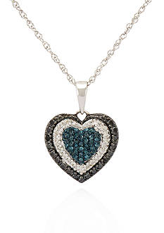 Belk & Co. Blue, Black and White Diamond Heart Pendant in Sterling Silver
