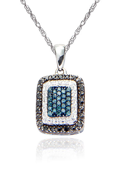 Belk & Co. Black and Blue Diamond Pendant in Sterling Silver