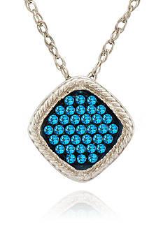 Belk & Co. Blue Square Diamond Pendant in Sterling Silver