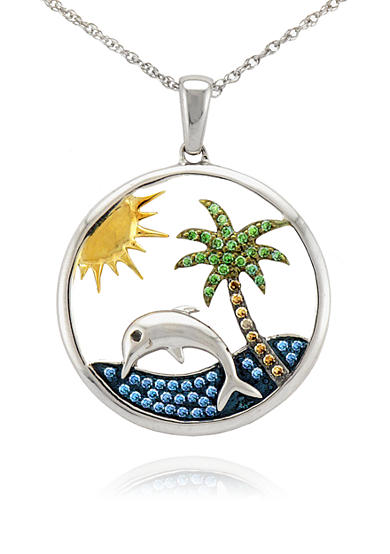 Belk & Co. Diamond Dolphin and Palm Tree Circle Pendant in Sterling Silver<br>
