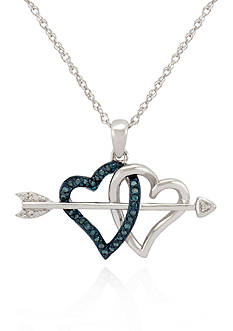 Belk & Co. Blue and White Diamond Heart and Arrow Pendant in Sterling Silver