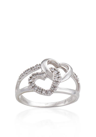 Belk & Co. Diamond Double Heart Ring in Sterling Silver