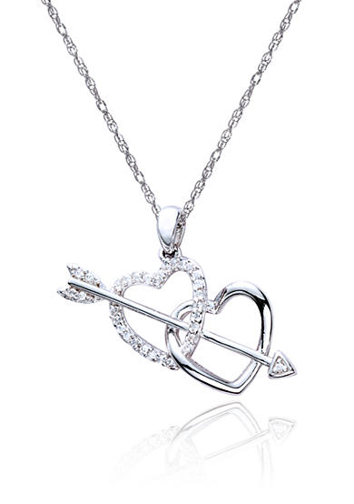 Belk & Co. Diamond Double Heart Arrow Pendant in Sterling Silver