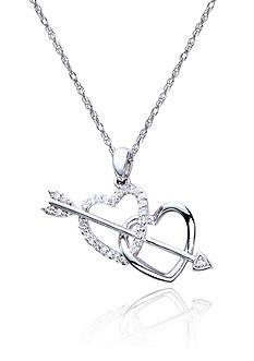 Belk & Co. Diamond Double Heart Arrow Pendant in Sterling Silver