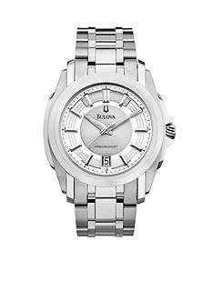 Bulova Precisionist. Men's White Tone Stainless Steel Bracelet