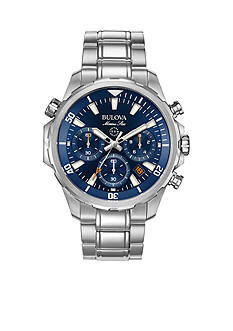 Bulova Mens Marine Star Silver-Tone Blue Dial Watch