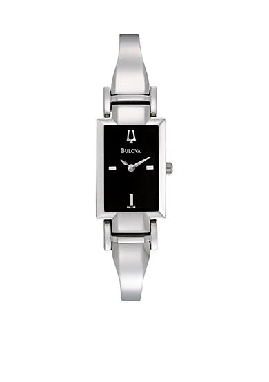 Bulova Ladies' Black Dial Bangle Watch