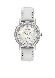 Bulova Women's Silver-Tone Crystals Collection White Strap Watch