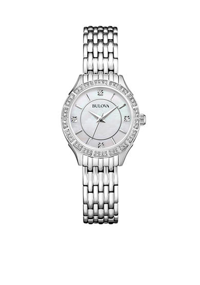 Bulova Women's Stainless Steel Crystal Watch and Necklace Box Set