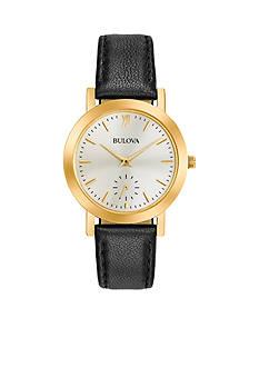 Bulova Women's Gold-Tone Black Leather Watch