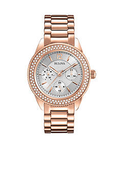 Bulova Women's Rose Gold-Tone Crystal Bracelet Watch