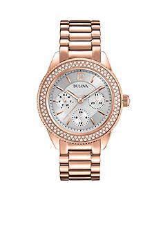 Bulova Women's Rose Gold-Tone Crystal Bracelet Watch