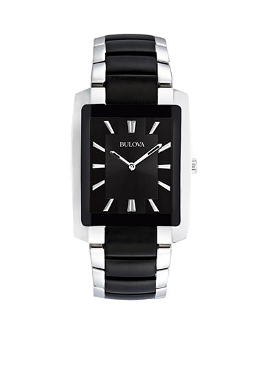Bulova Men's Two Tone Black Dial Watch