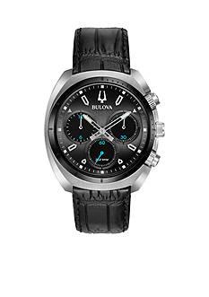 Bulova Men's CURV Black Leather Watch