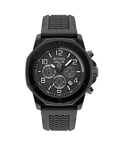 Bulova Men's Black Silicon Marine Star Chronograph Watch