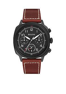 Men's Stainless Steel Bulova Leather Strap Watch