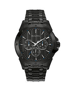 Bulova Men's Black Dial Stainless Steel Watch