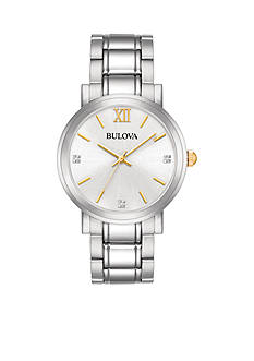 Bulova Men's Stainless Steel Diamond Dial Watch