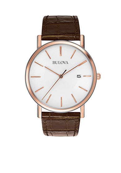 Bulova Men's Brown Leather Strap Watch