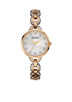 Bulova Women's Rose Gold-Tone Faceted Crystal Watch